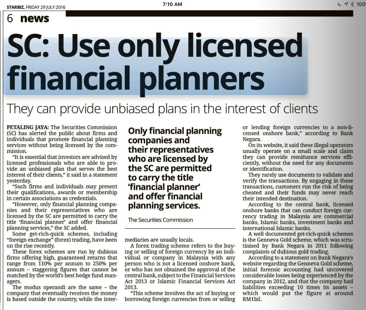 SC: Use Only Licensed Financial Planner